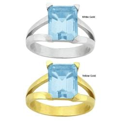 10k Gold Synthetic Aquamarine Contemporary Split Shank Ring