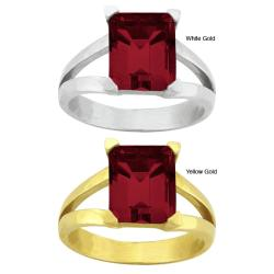 10k Gold Prong-set Synthetic Garnet Contemporary Split Shank Ring
