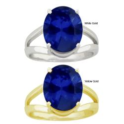 10k Gold Synthetic Sapphire Contemporary Split Shank Ring