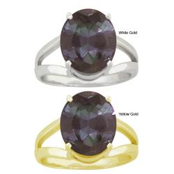 10k Gold Oval-shaped Synthetic Alexandrite Contemporary Split Shank Ring