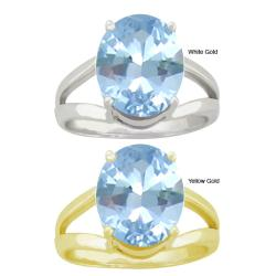 10k Gold Oval-cut Synthetic Aquamarine Contemporary Split Shank Ring