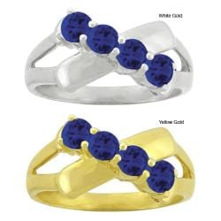 10k Gold Synthetic Sapphire Contemporary 4-stone Ring