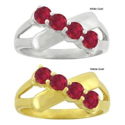 10k Gold Synthetic Ruby Contemporary 4-stone Ring