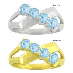 10k Gold Synthetic Aquamarine Contemporary 4-stone Ring