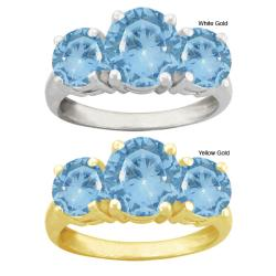 10k Gold Synthetic Round Blue Zircon 3-stone Ring