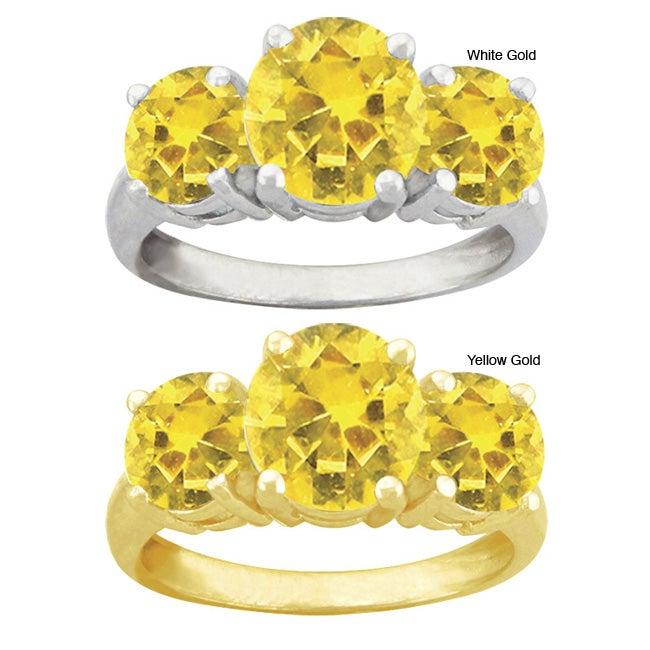 10k Gold Synthetic Round Golden Topaz 3-stone Ring