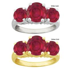 10k Gold Round Synthetic Ruby 3-stone Ring