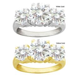 10k Gold Round Synthetic White Zircon 3-stone Ring