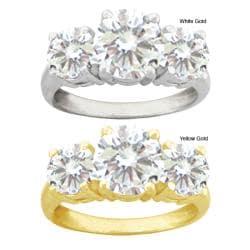 10k Gold Round Synthetic White Zircon 3-stone Ring