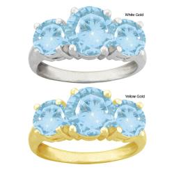 10k Gold Round Synthetic Aquamarine 3-stone Ring