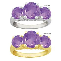 10k Gold Round Synthetic Amethyst 3-stone Ring