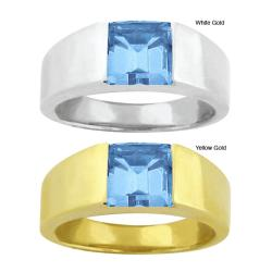 10k Gold Channel-set Synthetic Blue Zircon Contemporary Square Ring