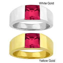 10k Gold Synthetic Ruby Contemporary Ring