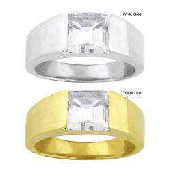 10k Gold Synthetic White Zircon Contemporary Square Ring