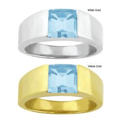 10k Gold Channel-set Synthetic Aquamarine Contemporary Square Ring