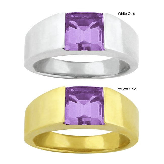 10k Gold Channel-set Synthetic Amethyst Contemporary Square Ring