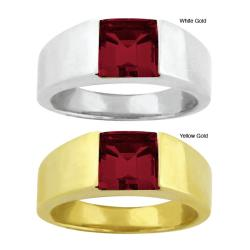 10k Gold Channel-set Synthetic Garnet Contemporary Square Ring