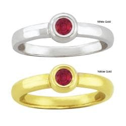 10k Gold Synthetic Ruby Contemporary Round Ring