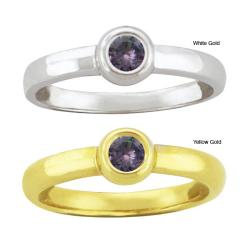 10k Gold Synthetic Alexandrite Contemporary Round Ring