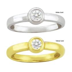 10k Gold Bezel-set Synthetic White Zircon Contemporary Round Ring