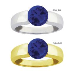 10k Gold Synthetic Sapphire Bold Contemporary Ring