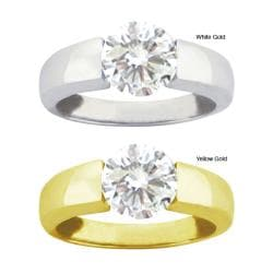 10k Gold Synthetic White Zircon Bold Contemporary Ring