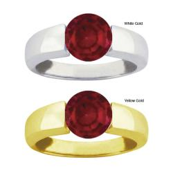 10k Gold Channel-set Synthetic Garnet Bold Contemporary Ring