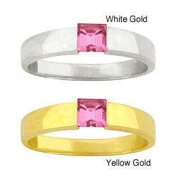 10k Gold Crystal Synthetic Rose Zircon Contemporary Ring