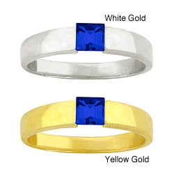 10k Gold Synthetic Sapphire Contemporary Ring