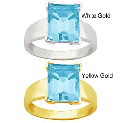 10k Gold Synthetic Aquamarine Solitaire Ring