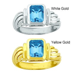 10k Gold Bezel-set Synthetic Blue Zircon Solitaire Ring