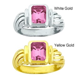10k Gold Emerald-cut Synthetic Rose Zircon Solitaire Ring