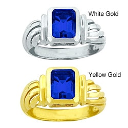 10k Gold Emerald-cut Synthetic Sapphire Solitaire Ring