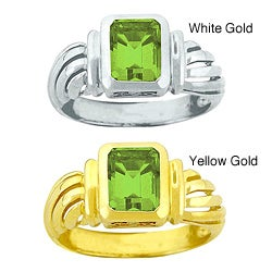 10k Gold Octagon Synthetic Peridot Solitaire Ring