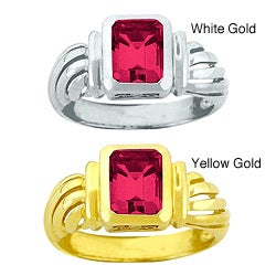 10k Gold Bezel-set Synthetic Ruby Solitaire Ring