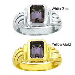 10k Gold Octagon Synthetic Alexandrite Solitaire Ring