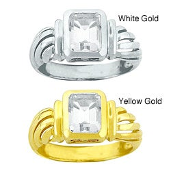 10k Gold Emerald-cut Synthetic White Zircon Solitaire Ring