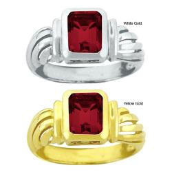 10k Gold Synthetic Garnet Contemporary Octagon Ring