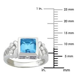 10k Gold Synthetic Blue Zircon Contemporary Square Ring