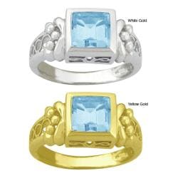 10k Gold Synthetic Aquamarine Filigree Ring