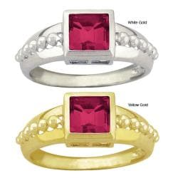 10k Gold Synthetic Ruby Square Ring