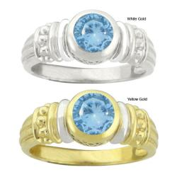 10k Gold Synthetic Blue Zircon Round Ring