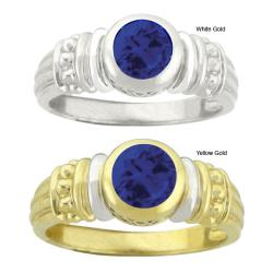 10k Gold Synthetic Sapphire Round Ring
