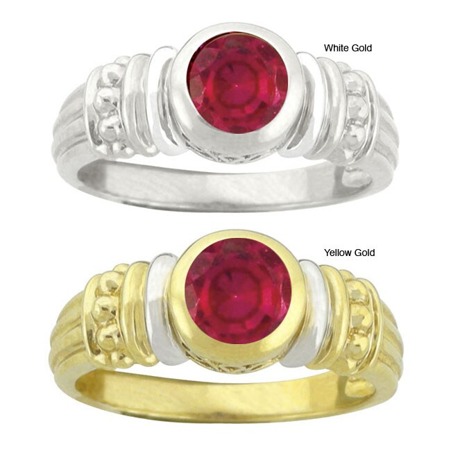 10k Gold Synthetic Ruby Round Ring