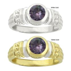 10k Gold Synthetic Alexandrite Round Ring