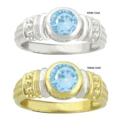 10k Gold Synthetic Aquamarine Contemporary Round Ring