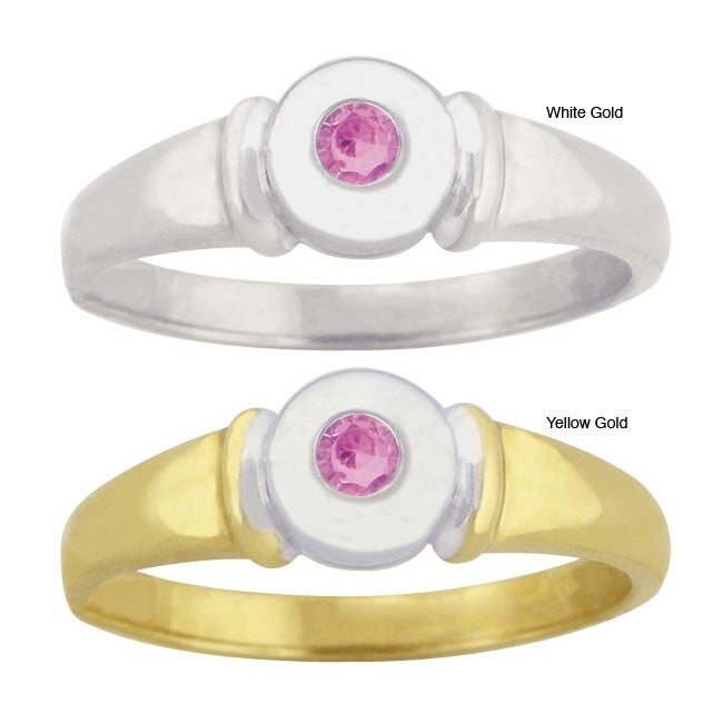 10k Gold Synthetic Rose Zircon Contemporary Two-tone Ring