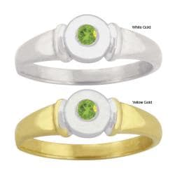 10k Gold Synthetic Peridot Contemporary Two-tone Ring