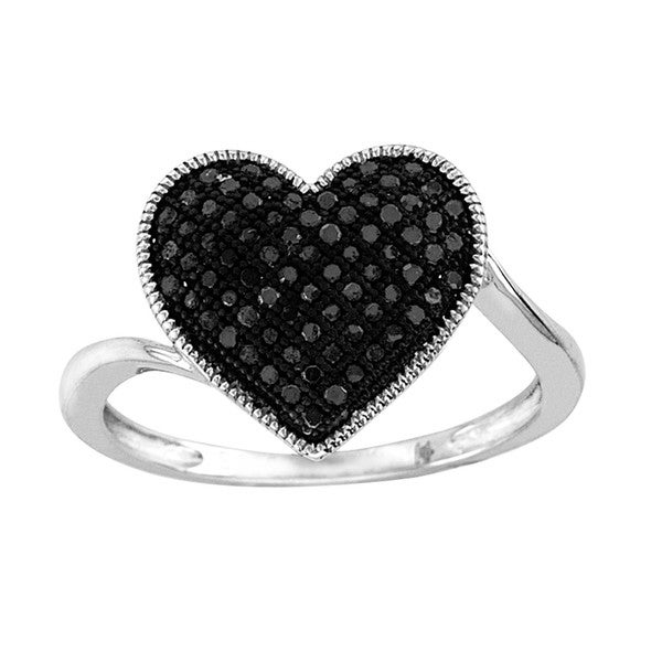 De Couer Sterling Silver 1/4ct TDW Black Diamond Heart Cocktail Ring