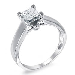 14k White Gold 5/8ct TDW Princess Diamond Composite Ring (H-I, I1)